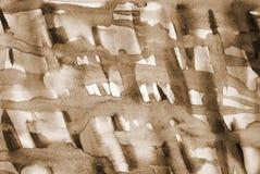 Aquarela abstrata na textura de papel como o fundo Na tonelada do Sepia fotografia de stock