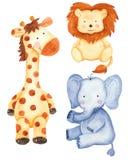 Aquarela ajustada com animais bonitos: girafa, leão, elefante ilustração royalty free
