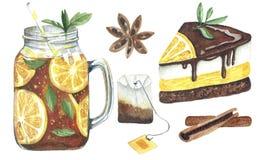 Aquarela ajustada com bebida e doces no fundo branco ilustração do vetor