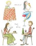 A aquarela ajustou-se de quatro que bebem e de povos comendo ilustração do vetor