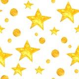 A aquarela amarela stars o fundo Teste padrão sem emenda Fotografia de Stock Royalty Free
