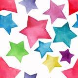 Aquarela amarela verde roxa azul do teste padrão de estrelas do rosa vermelho artístico brilhante maravilhoso bonito bonito bonit ilustração stock