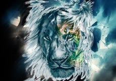 Aquarela artística colorida do sumário de Lion Face Artwork Background ilustração royalty free