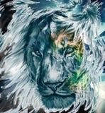 Aquarela art?stica colorida do sum?rio de Lion Face Artwork Background ilustração royalty free