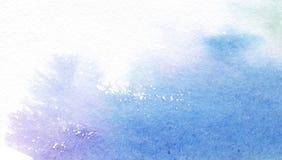 Aquarela azul abstrata no fundo branco A pintura espirra no papel Face das mulheres Hand-drawn de illustration ilustração do vetor