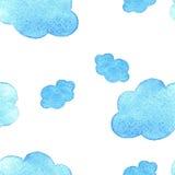 A aquarela azul nubla-se o fundo Teste padrão No baground branco ilustração stock
