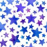 A aquarela azul pintada stars o teste padrão sem emenda do vetor Imagens de Stock