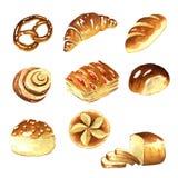 Aquarela, clipart do pão ilustração royalty free