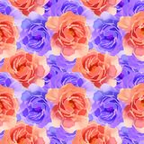 Aquarela colorida bonita Rose Floral Seamless Pattern Background Ilustração elegante com as flores cor-de-rosa e amarelas ilustração royalty free