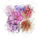 Aquarela colorida das flores ilustração do vetor