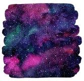 A aquarela colorida mancha o fundo cósmico ilustração do vetor
