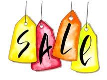 A aquarela colorida que pendura vendas etiqueta a ilustração isolada no Livro Branco imagem de stock royalty free