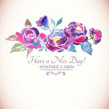 Aquarela colorida Rose Floral Greeting Card Imagens de Stock