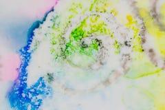 Aquarela com redemoinho do cracle no verde, no amarelo e no azul Imagem de Stock
