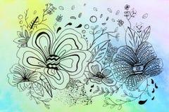Aquarela da flor e do arco-íris do desenho ilustração stock