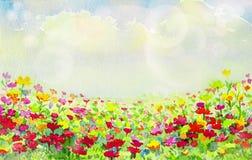 Aquarela da pintura de flores da margarida ilustração royalty free