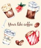 Aquarela das ilustrações, seu café como fotos de stock