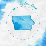 Aquarela de Iowa nós mapa do estado em cores de turquesa Foto de Stock