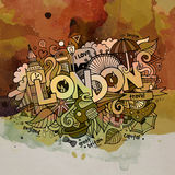 A aquarela de Londres rabisca o fundo dos elementos Fotografia de Stock Royalty Free