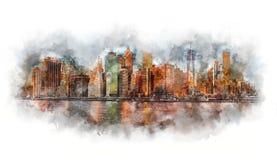 Aquarela de New York City - Manhattan e distrito financeiro na manhã foto de stock royalty free