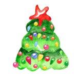 A aquarela decorou a árvore de Natal isolada no fundo branco ilustração do vetor