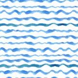 A aquarela descasca o grupo sem emenda do teste padrão Fundo ondulado ciano azul ilustração royalty free