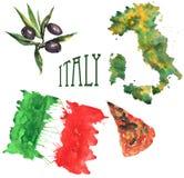 A aquarela desenhado à mão ajustou-se no tema de Itália, consistindo na Fotografia de Stock Royalty Free