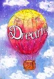 Aquarela do balão de ar quente do balão Foto de Stock
