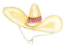 Aquarela do chapéu do sombreiro Imagens de Stock