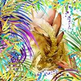 Aquarela do dinossauro Dinossauro, dinossauro exótico tropical da ilustração do fundo da floresta ilustração royalty free