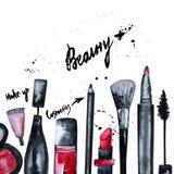 A aquarela do vetor glamoroso compõe o grupo de cosméticos com o verniz para as unhas e o batom Projeto criativo para o cartão, b ilustração do vetor