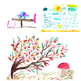 Aquarela dos desenhos das crianças Fotos de Stock Royalty Free