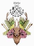 Aquarela feito à mão dos cervos animais maravilhosos na ilustração do vetor fotografia de stock royalty free