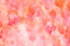 Aquarela feito a mão alaranjada vermelha Imagens de Stock