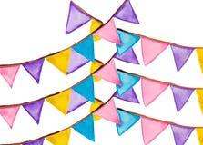 Aquarela festiva das bandeiras da cor Fotografia de Stock Royalty Free