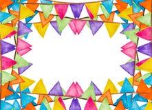 Aquarela festiva das bandeiras da cor Imagens de Stock