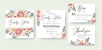 A aquarela floral do casamento convida, convite, salvar a data, rsv Fotos de Stock