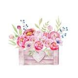 A aquarela floresce a caixa de madeira Jardim chique desenhado à mão ru do vintage ilustração royalty free