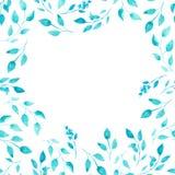 Aquarela folhas verdes e do azul como o quadro Imagens de Stock