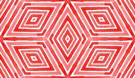 Aquarela geométrica vermelha cor-de-rosa Sem emenda delicioso fotografia de stock royalty free