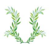 Aquarela Laurel Wreath Isolated no fundo branco ilustração do vetor