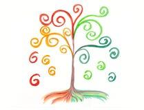 Aquarela mágica da árvore Imagens de Stock Royalty Free