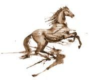 A aquarela molhada que eleva acima do cavalo com tinta do sepia borra e mancha no branco ilustração royalty free