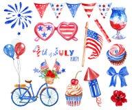 A aquarela 4o da mão grande de julho tirada ajustou-se com os símbolos vermelhos, brancos e azuis do feriado nacional dos EUA, is foto de stock