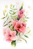 Aquarela original - um ramalhete do tipo de flor cor-de-rosa com ramos diferentes das folhas ilustração do vetor