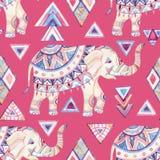 Aquarela ornamentado indiana do elefante com teste padrão sem emenda dos elementos tribais Imagens de Stock Royalty Free