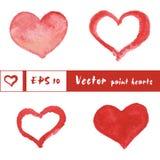 A aquarela pintou corações vermelhos ajustados, elementos do vetor Ilustração do Vetor