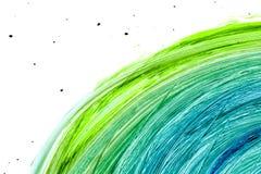 A aquarela pintou a textura com círculos verdes e cianos, grande ilustração da quadriculação fotos de stock royalty free