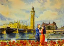 Aquarela que pinta Ben Clock Tower e Thames River grandes ilustração stock