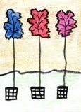 Aquarela que pinta três folhas Imagens de Stock Royalty Free